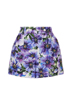 Floral-print Cotton And Silk-blend Twill Shorts - Purple