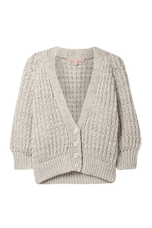 Cropped Linen And Cotton-blend Cardigan - Light gray