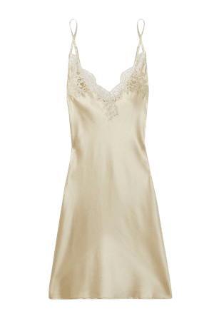 Gold In The Mood For Love metallic lace-trimmed silk-blend satin chemise | I.D. Sarrieri | NET-A-PORTER