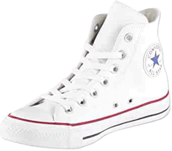 Amazon.com | Converse Men's Chuck Taylor All Star Leather High Top Sneaker, White, 6.5 | Fashion Sneakers