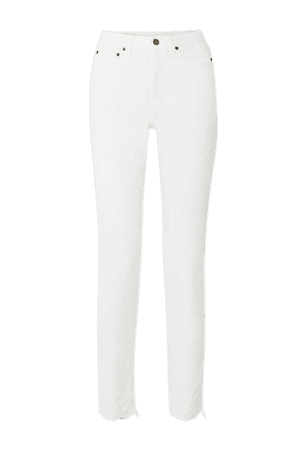 Distressed High-rise Straight-leg Jeans - White
