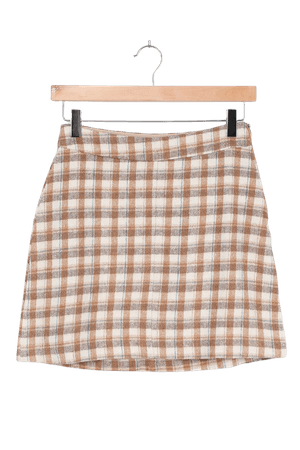 Cream Plaid Skirt - Plaid Print Mini Skirt - Flannel A-Line Skirt - Lulus