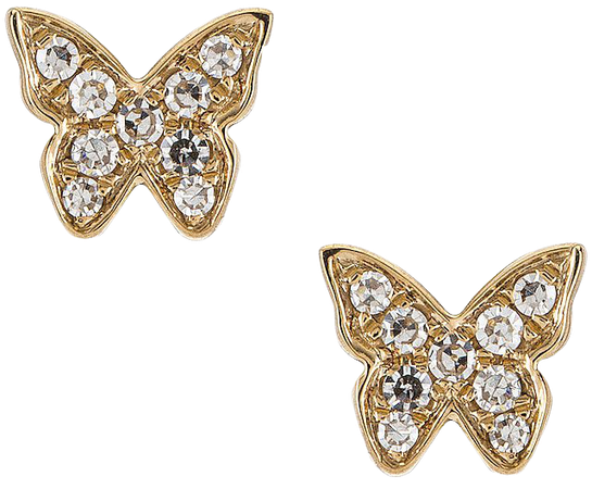 EF COLLECTION Baby Diamond Butterfly Stud Earrings in Yellow Gold | REVOLVE
