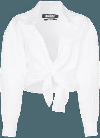 Jacquemus Cropped tie-front Cotton Blouse - Farfetch
