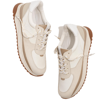 Kickoff Trainer Sneakers in Neutral Colorblock Leather