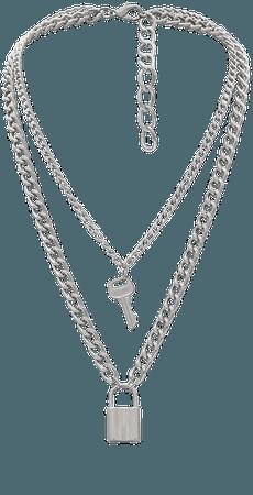 Lock Key Pendant Necklace Statement Simple Rock Punk Hip Hop Multilayer Chain Necklace for Women Girls Men Boys | Amazon.com