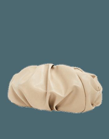 ASOS DESIGN oversized ruched clutch bag in beige | ASOS