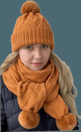 Orange Winter Hat and Scarf