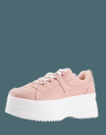 Topshop Clara flatform lace up sneakers in blush | ASOS