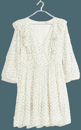 Ruffled Pleat-Sleeve Mini Dress in Spring Fling