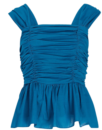 Belted Ruched Square Neck Peplum Tank | Express
