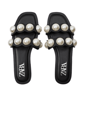 FLAT LEATHER SANDALS WITH PEARLS | ZARA United Kingdom
