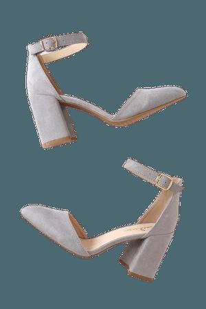 Trendy Grey Heels - Ankle Strap Heels - Block Heels