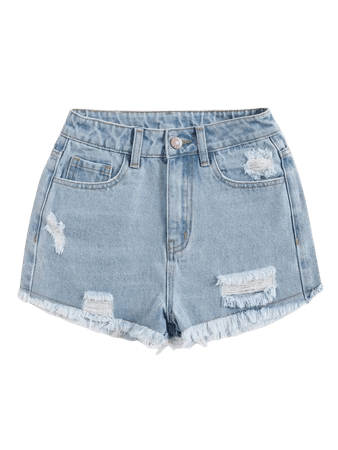 Raw Hem Ripped Denim Shorts   SHEIN USA blue
