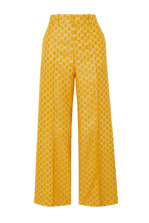 Yellow Metallic wool and silk-blend jacquard wide-leg pants | Gucci | NET-A-PORTER