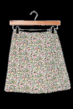 White Floral Print Skirt - A-Line Mini Skirt - Button Front Skirt - Lulus