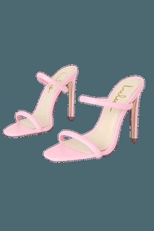 Light Pink High Heels - Vegan Leather Heels - Square-Toe Heels