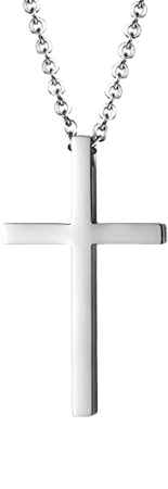 Amazon.com: Reve Simple Stainless Steel Silver Tone Cross Pendant Chain Necklace for Men Women, 20''-22'' (1.71.02'' Pendant+20'' Chain): Jewelry