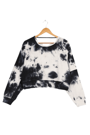 Midnight Blue Sweater - Tie-Dye Sweater - Cropped Sweater Top - Lulus