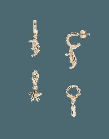 Monki Iona 2 pack moon and star hoop earrings in gold | ASOS