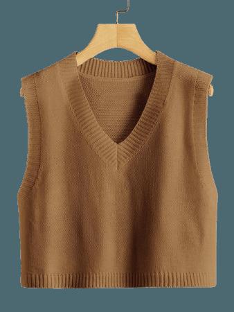 Plus Solid V-Neck Sweater Vest | SHEIN USA