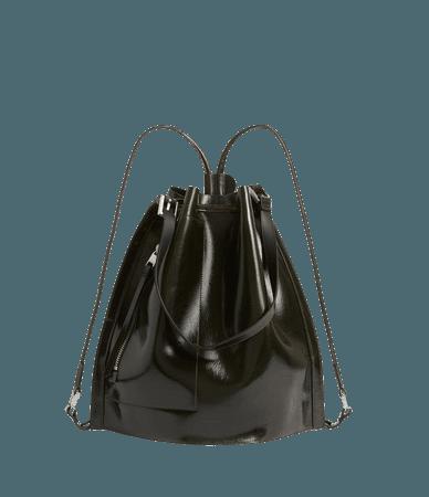 ALLSAINTS US: Womens Alpha Leather Backpack (liquid_khaki)