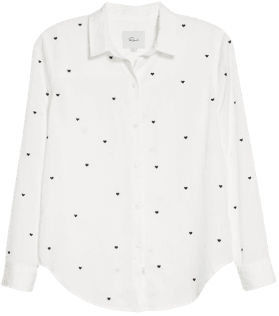 Rails Yvonne Embroidered Hearts Long Sleeve Shirt | Nordstrom