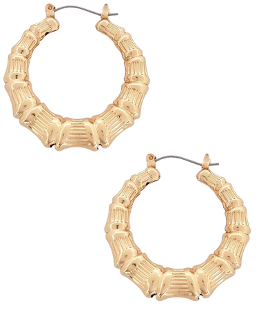Gold Look Classic Creole Hoop Earrings   Missguided