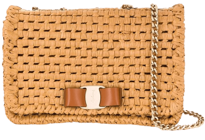 Vara bow raffia shoulder bag