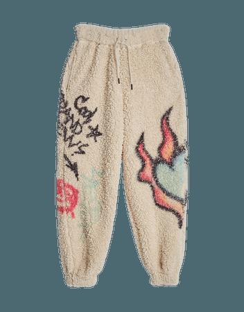 Faux shearling joggers - Pants - Woman | Bershka