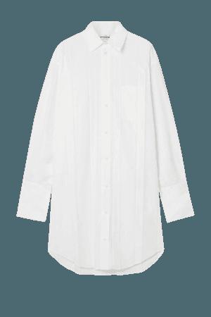 White Pleated poplin shirt dress | Balenciaga | NET-A-PORTER