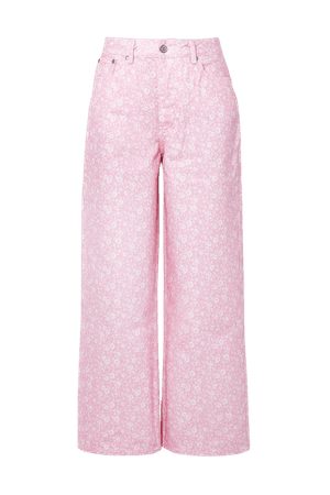 Baby pink + NET SUSTAIN floral-print high-rise wide-leg jeans   GANNI   NET-A-PORTER