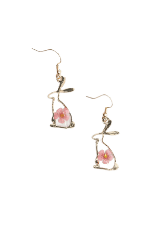Rabbit In the Garden Dangle Earrings in Gold/Pink Floral   ModCloth
