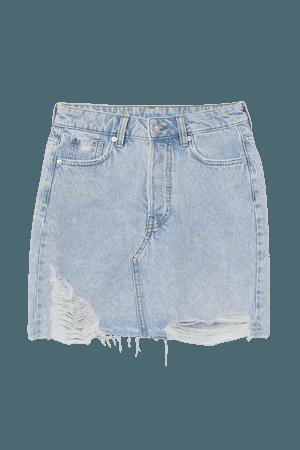 Denim Skirt - Light denim blue/trashed - Ladies | H&M US