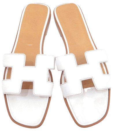 Hermès Oran Flats Sandals in White Leather - Select Style