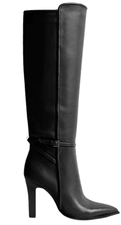 Ada Black Knee-High Leather Boots – REISS