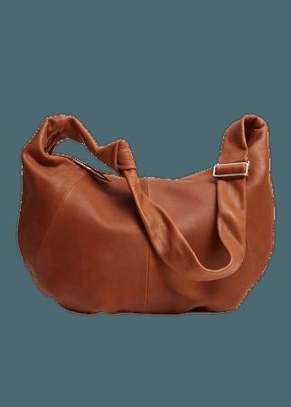 Leather half-moon bag - Women | Mango USA