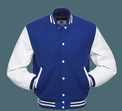 Varsity Baseball Royal Blue Wool & White Genuine Leather Sleeve Letterman Jacket