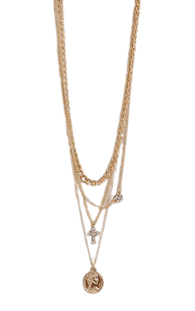 Gold Cross Multi Layering Necklace | PrettyLittleThing USA