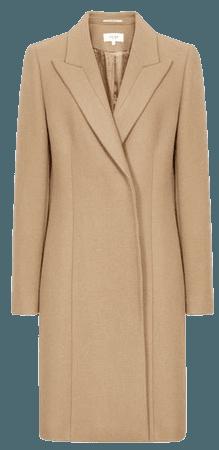 Marlow Camel Wool-Blend Mid-Length Coat – REISS