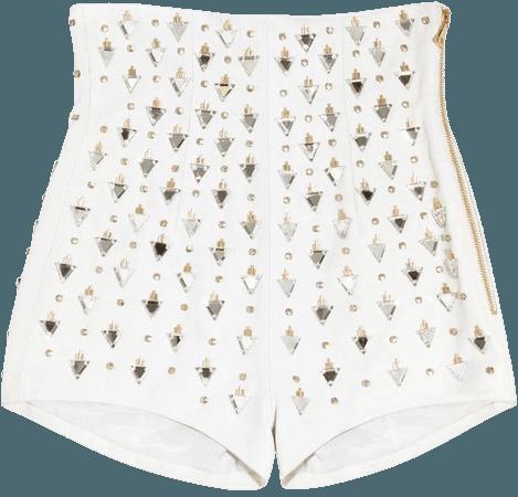 Balmain Embellished high-rise leather shorts (€1.570)