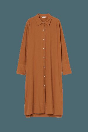 Cotton Shirt Dress - Rust brown - Ladies   H&M US
