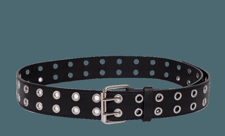 Leather Effect Double Eyelet Belt | Belt – motelrocks-com-us