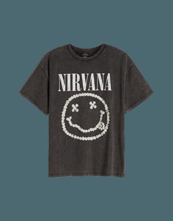 Short sleeve floral Nirvana T-shirt - Tees and tops - Woman   Bershka
