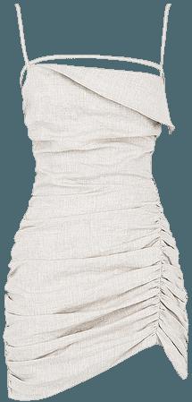 Clothing : Mini Dresses : 'Hunter' Stone Gathered Asymmetric Mini Dress