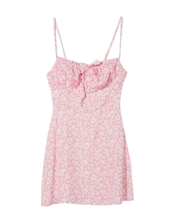 Short dress with straps and floral print - Dresses - Woman   Bershka
