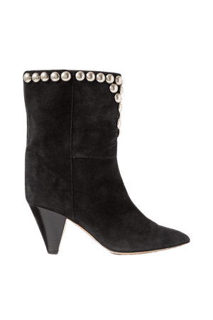 Black Lunee studded suede ankle boots   Isabel Marant   NET-A-PORTER