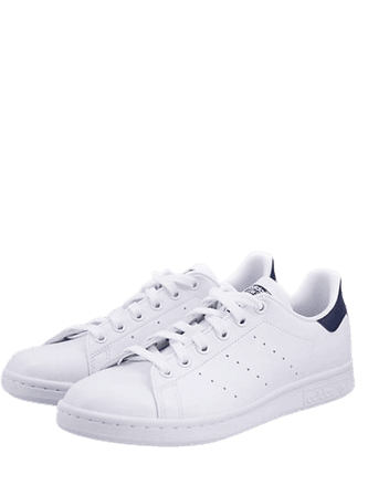 adidas Originals vegan-friendly Stan Smith sneakers in white and navy | ASOS