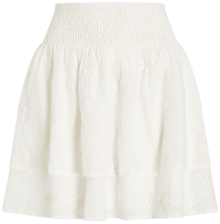 High Waisted Tiered Eyelet Lace Mini Skirt | Express