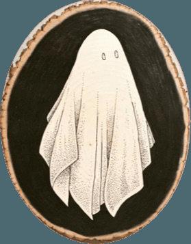 halloween ghost painting wood slice